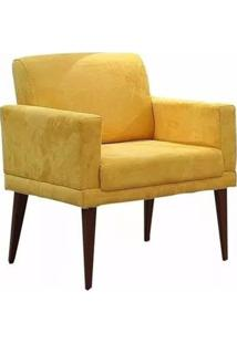Poltrona Decorativa Emília Pés Palito Suede Amarelo - Ds Móveis