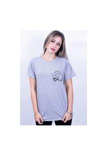 Camiseta Bilhan Corte A Fio Mãos Dadas Pqn Cinza