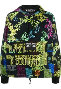 Versace Jeans Couture Logo Drawstring Hoodie - Preto