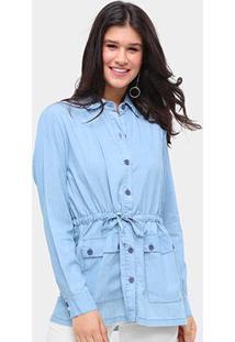 Jaqueta Jeans Influencer Parka Amarração Feminina - Feminino-Azul Claro