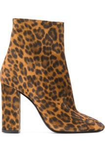 Saint Laurent Ankle Boot Lou Animal Print - Marrom