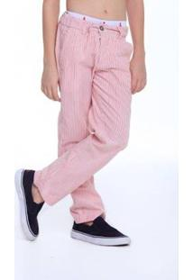 Calça Mini Casual Alfaiataria Risca Giz Reserva Infantil Masculino - Masculino-Vermelho