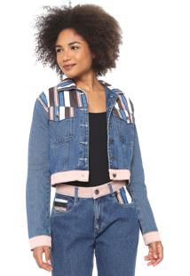 Jaqueta Jeans Cropped My Favorite Thing(S) Listrada Azul