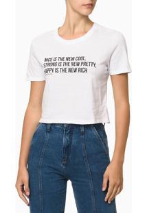 Camiseta Feminina Cropped Estampa Nice Is The New Cool Branca Calvin Klein - G