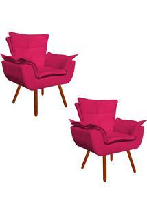 Kit 02 Poltrona Decorativa Opala Suede Pink - D'Rossi