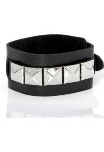 Bracelete Rebite - Unissex-Preto