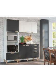 Cozinha Compacta Nevada X 6 Pt 4 Gv Branca E Grafite