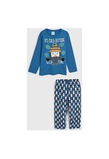 Pijama Kyly Longo Infantil Pinguim Azul/Branco