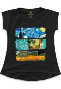 Camiseta Cool Tees Van Gogh Feminina - Feminino-Preto