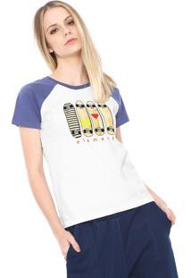 Camiseta Raglan Element As You Branca/Azul