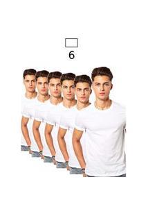Kit 6 Camiseta Masculina Algodáo Básica Camisa Atacado Lisa Gola Redonda Para Uniforme Escolar Branca