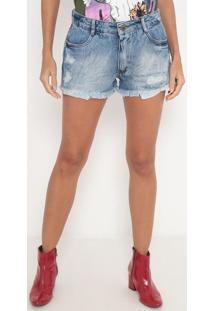 Short Jeans Estonado Com Destroyed- Azul & Azul Escuro