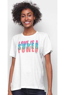 Camiseta Colcci Love Is A Super Power Feminina - Feminino-Branco