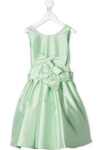 Piccola Ludo Vestido Com Detalhe De Flor - Verde