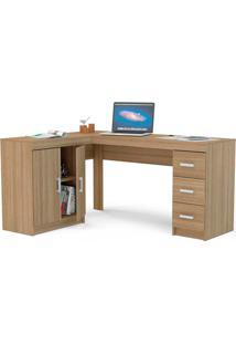 Mesa Para Computador Com 2 Portas E 3 Gavetas Espanha - Politorno - Castanho