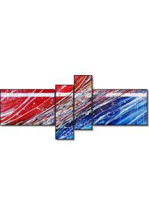 Quadro Painel Decorativo Abstrato 4 Peças Azul Com Vermelho