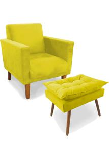 Kit Poltrona Decorativa Conforto Com Puff Pã©S Madeira Suede Amarelo - Unico - Dafiti