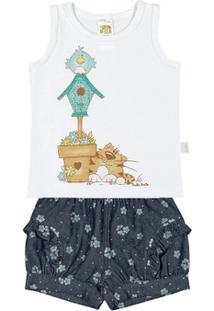 Conjunto Sorvetejeans Floral Bebê Menina Cotton Jeans - Feminino-Branco
