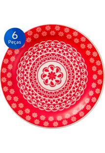 Conjunto De Pratos Para Sobremesa 6 Peças Floreal Renda - Oxford - Vermelho
