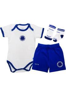 Kit Body Manga Curta Reve D Or Sport Short E Meia Cruzeiro Branca E Azul 682e6d2c06b4f