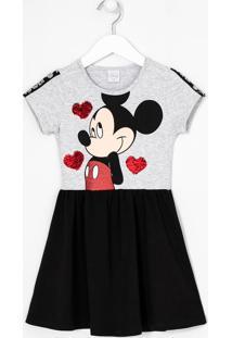 Vestido Manga Curta Infantil Estampa Mickey - Tam 5 A 14 Anos