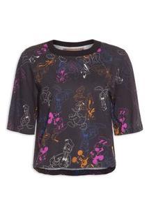 Camiseta Feminina Estampada - Preto