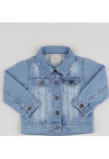 Jaqueta Jeans Infantil Com Bolsos Azul Claro
