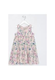 Vestido Infantil Com Recortes Floral - Tam 5 A 14 Anos | Fuzarka (5 A 14 Anos) | Rosa | 13-14
