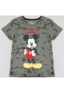 Blusa Juvenil Mickey Estampada Com Glitter Manga Curta Verde Militar