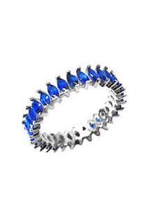 Aliança De Prata Navete Azul (Unidade)
