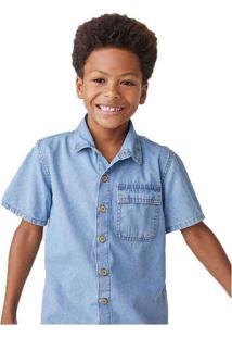 Camisa Jeans Infantil Menino Manga Curta Azul