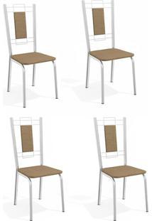 Conjunto Com 4 Cadeiras De Cozinha Florença Cromado E Capuccino