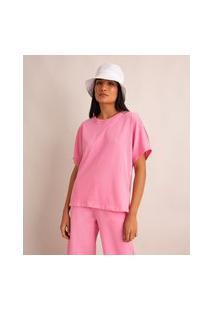 Camiseta Oversized Básica De Algodão Manga Curta Decote Redondo Com Recorte Rosa