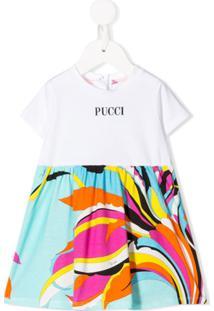 Emilio Pucci Junior Vestido Com Recorte Contrastante - Branco