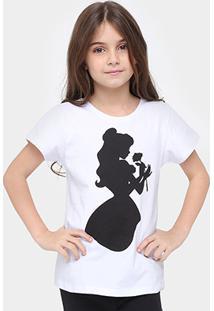 Camiseta Disney A Bela E A Fera Infantil - Feminino-Branco