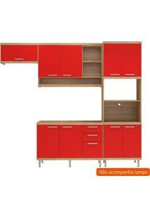 Cozinha Compacta Lobos 9 Pt 3 Gv Argila E Vermelho