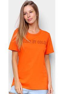 Camiseta Colcci Estampada Feminina - Feminino-Laranja