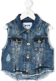 Msgm Kids Colete Jeans - Azul