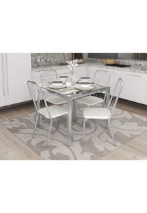 Conjunto Mesa Reno Com 4 Cadeiras Viena Branco Cromado Kappesberg Crome - Branco - Dafiti