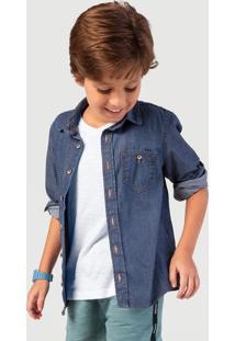 Camisa Jeans Menino Com Bolsos Hering Kids