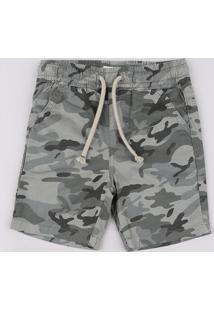 Bermuda De Sarja Infantil Estampada Camuflada Com Cordão E Bolsos Verde Militar