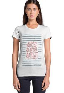 Camiseta Joss Feminina Estampada Artist - Feminino-Branco