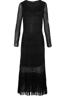 Vestido Franjas Tricô Bobstore - Preto