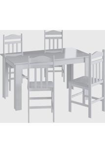Conjunto Mesa Fixa 4 Cadeiras Branco Móveis Canção