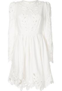 Zimmermann Vestido Floral Com Recorte Vazado - Branco