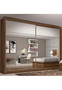 Guarda-Roupa Casal Sevilha 2 Portas Com Espelho E 6 Gavetas – Made Marcs - Brauna