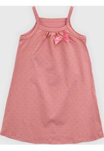 Vestido Kyly Infantil Laço Rosa/Dourado