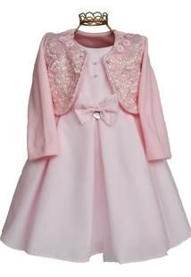 Vestido Infantil Mini Miss Clássico Rosa