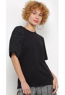 Camiseta Colcci Manga Trabalhada Feminina - Feminino-Preto