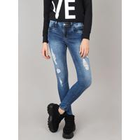 9cefbf863 Calça Jeans Feminina Sawary Super Skinny Destroyed Azul Médio
